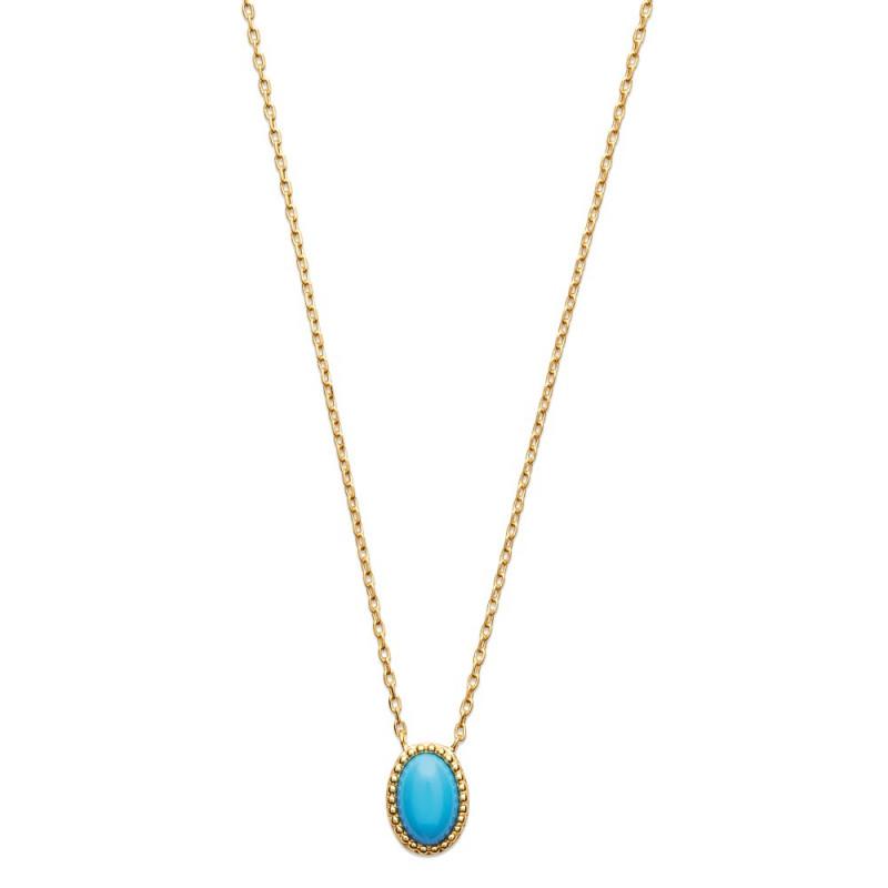 Collier femme fin en plaqué or perle turquoise