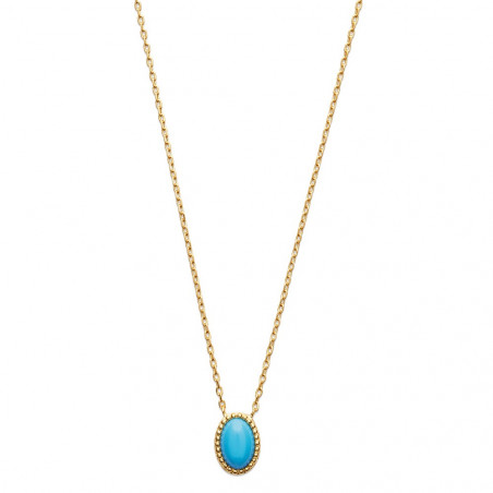 Collier plaqué or perle turquoise