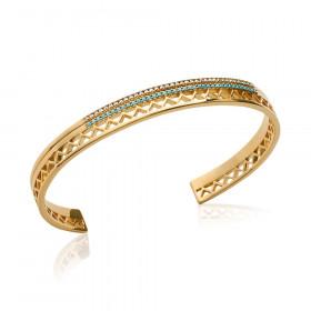 Bracelet ouvert plaqué or strass turquoise et blanc 56mm