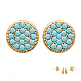 Boucles d'oreilles plaqué or ronde strass turquoise