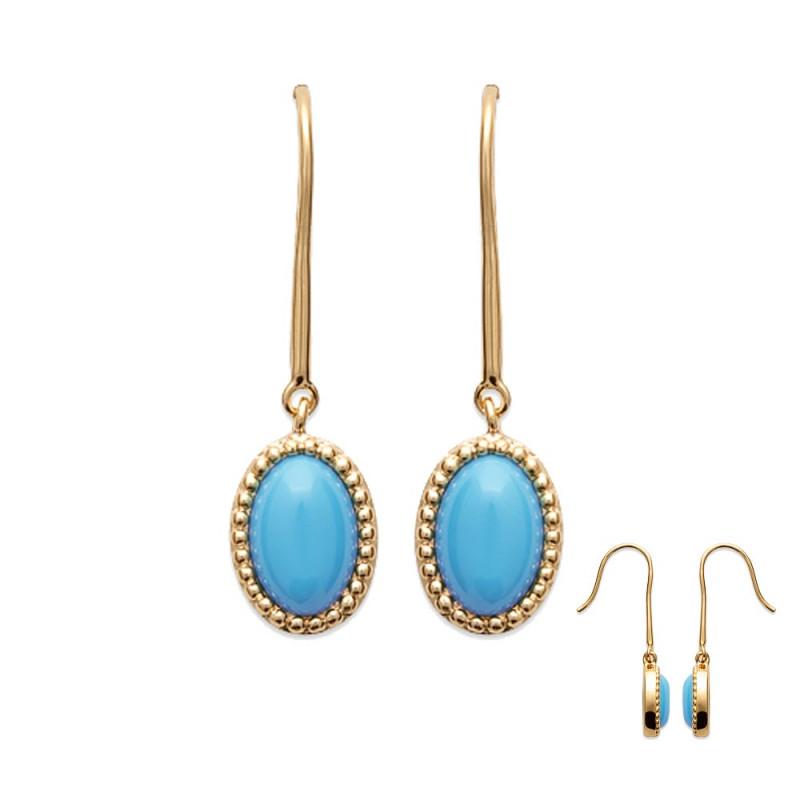 dormeuse plaqué or et pierre naturel Turquoise