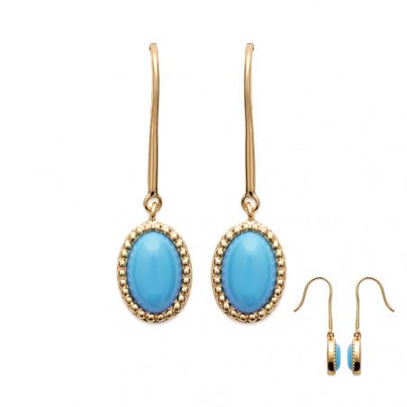 Paire de boucles d'oreilles pendantes plaqué or perles turquoise