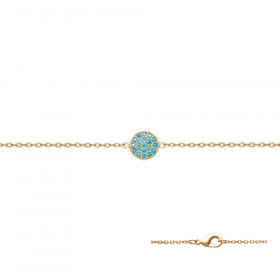 Bracelet plaqué or serti de strass turquoise