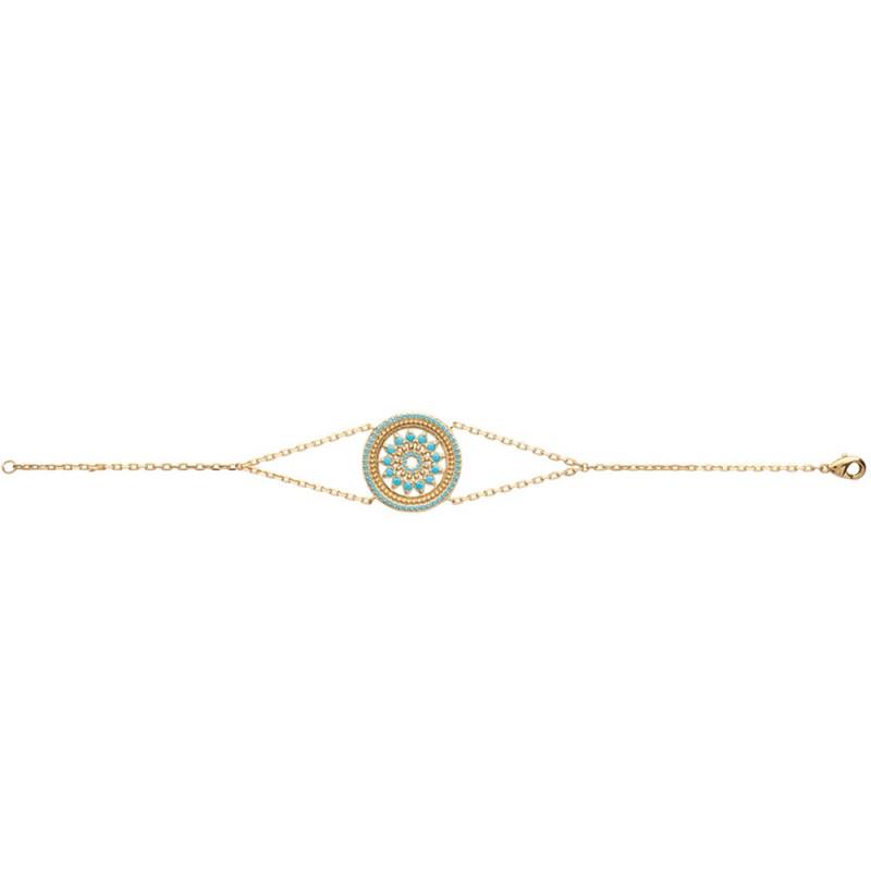 Bracelet plaqué or avec médaillon rond et strass turquoise 18cm