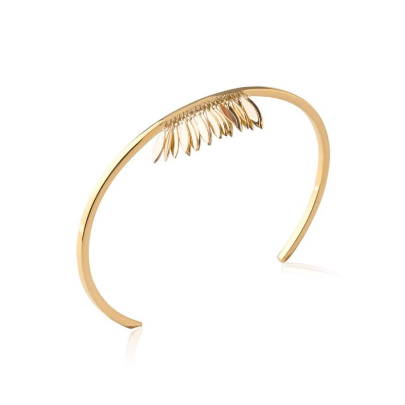 Bracelet femme ouvert plaqué or 56mm avec pendants