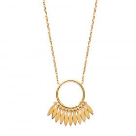 Collier femme en plaqué or avec anneau et pendants