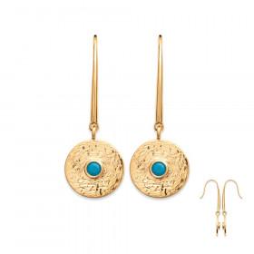 boucles d'oreilles femme en plaqué or pendantes strass turquoise