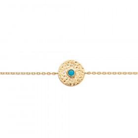 Bracelet plaqué or avec perle turquoise 18cm