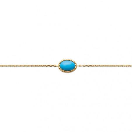Bracelet en plaqué or avec perle ovale turquoise