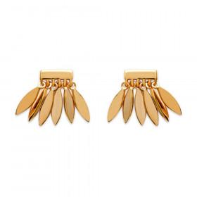 Boucles d'oreilles feuille pour femme en plaqué or
