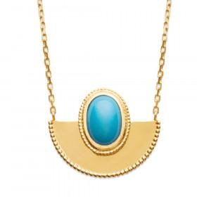 Collier en plaqué or avec pendentif demi-cercle 45cm