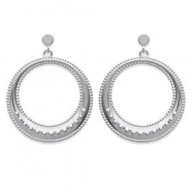 Boucles d'oreilles femme anneau pendant en Argent 925