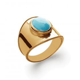 Bague bouclier plaqué or perle turquoise