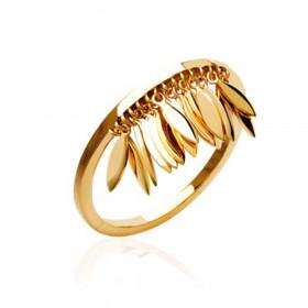 Bague femme feuille pendante doré