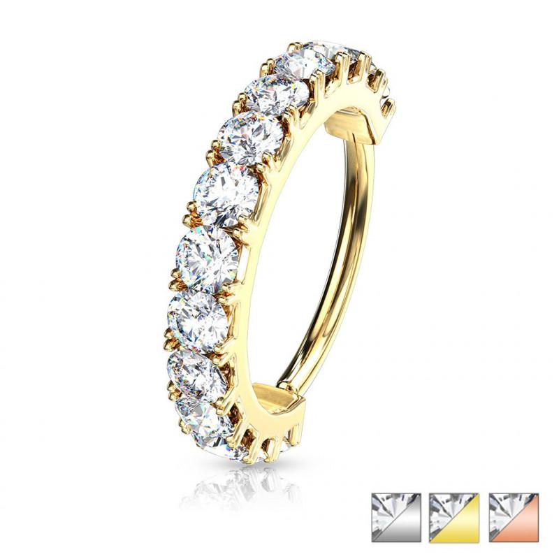 Piercing anneau avec strass cartilage, daith rook et autre