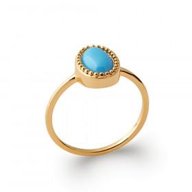 Bague fine doré perle marquise turquoise pour femme