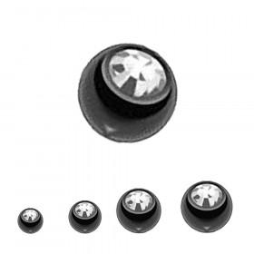 Bille Piercing 1,6mm noir  cristal