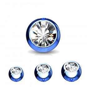 Bille piercing 1,6mm couleur bleu avec strass