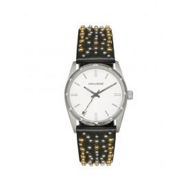 Montre Mixte Zadig & Voltaire à Quartz Argenté et bracelet doré en Cuir & Acier ZVF402