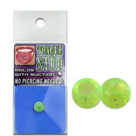 Faux piercing langue phosphorescent vert