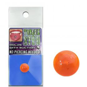 Faux piercing langue phosphorescent orange