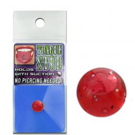 Faux piercing langue phosphorescent rouge