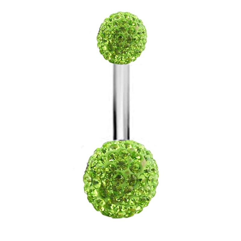 Piercing nombril double Cristal couleur Vert