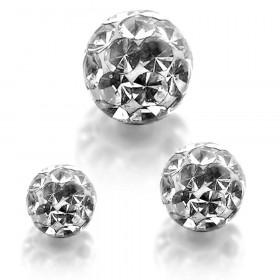 Bille piercing multi cristaux blanc