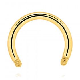 Barre de piercing fer à cheval acier chirurgical doré diamètre 1,2mm