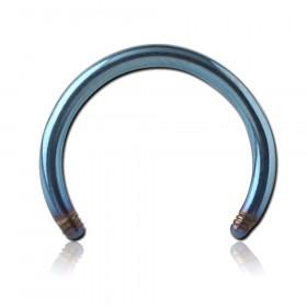 Barre de piercing fer à cheval acier chirurgical bleu diamètre 1,2mm