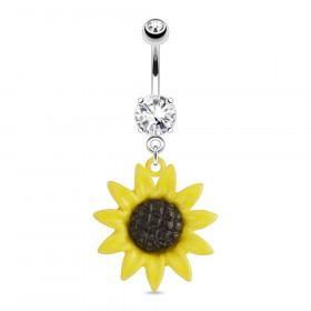 Piercing nombril fleur de tournesol
