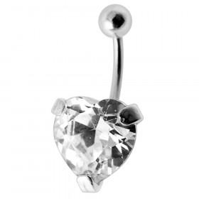 Piercing nombril argent 925 cœur cristal couleur diamant
