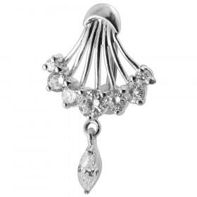 Piercing nombril inversé argent 925 cristaux couleur blanc diamant