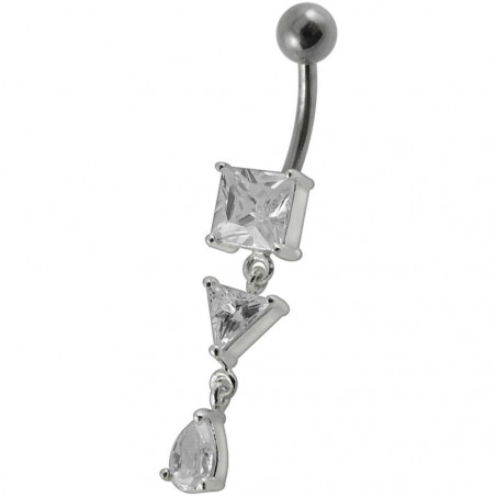 Piercing nombril argent pendant carré triangle goute cristaux blanc diamant transparant