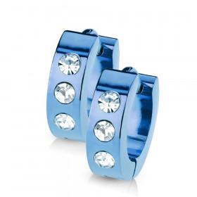 Boucles d'oreille anneau bleu strass
