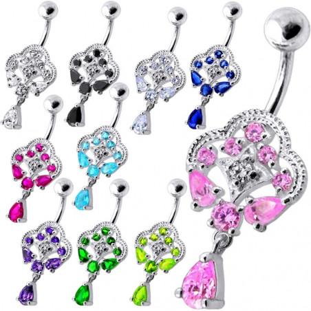 Piercing nombril royal argent et cristaux
