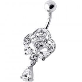 Piercing nombril royal argent et cristaux couleur blanc diamant