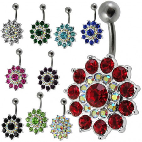 Piercing nombril argent fleur pétale cristal