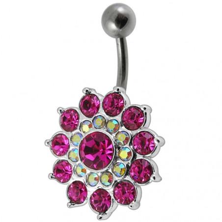 Piercing nombril argent massif fleur pétales cristaux rose barre acier chirurgical