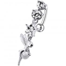 Piercing nombril fée inversé argent cristaux blanc diamant