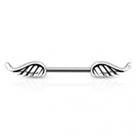 Piercing pour téton en acier chirurgical motif aile d'ange acier