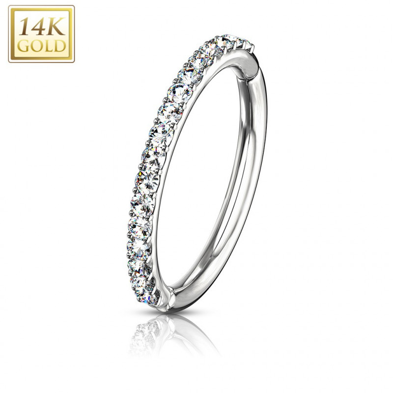 piercing Anneau clip 1,2 mm or blanc 14 carat