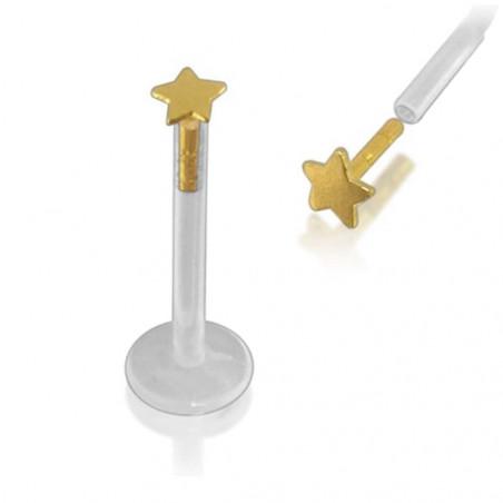 Piercing labret bio-plast étoile or 14 carat