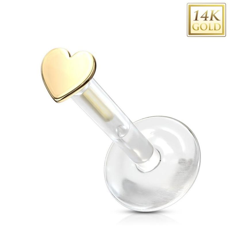 Piercing labret lèvre tragus coeur or 14 carat tige bio-plast