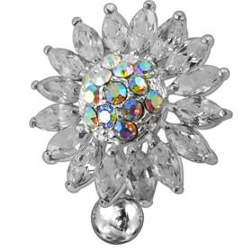 Piercing nombril fleur inversé argent et cristaux blanc