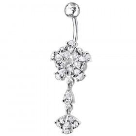 Piercing nombril fleur argent pendante articulé strass couleur blanc diamant