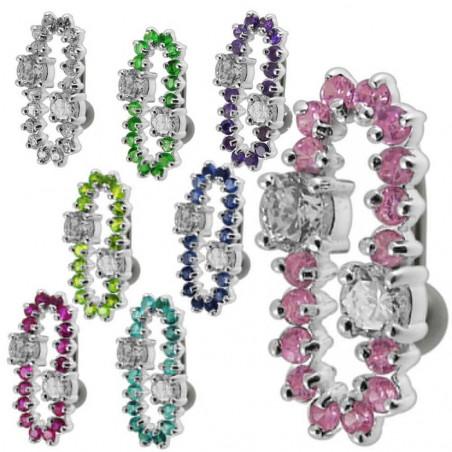 Piercing nombril inversé boucle argent et cristaux