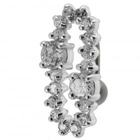 Piercing nombril inversé boucle argent et cristaux couleur blanc diamant