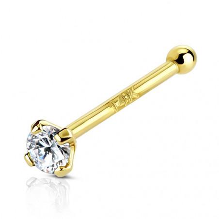 Piercing nez or jaune massif cristal 2mm discret cristal blanc couleur diamant