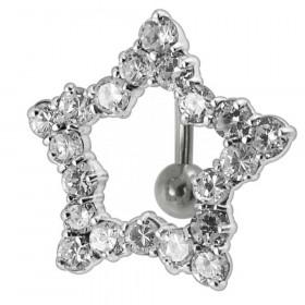 Piercing nombril étoile argent inversé strass blanc diamant